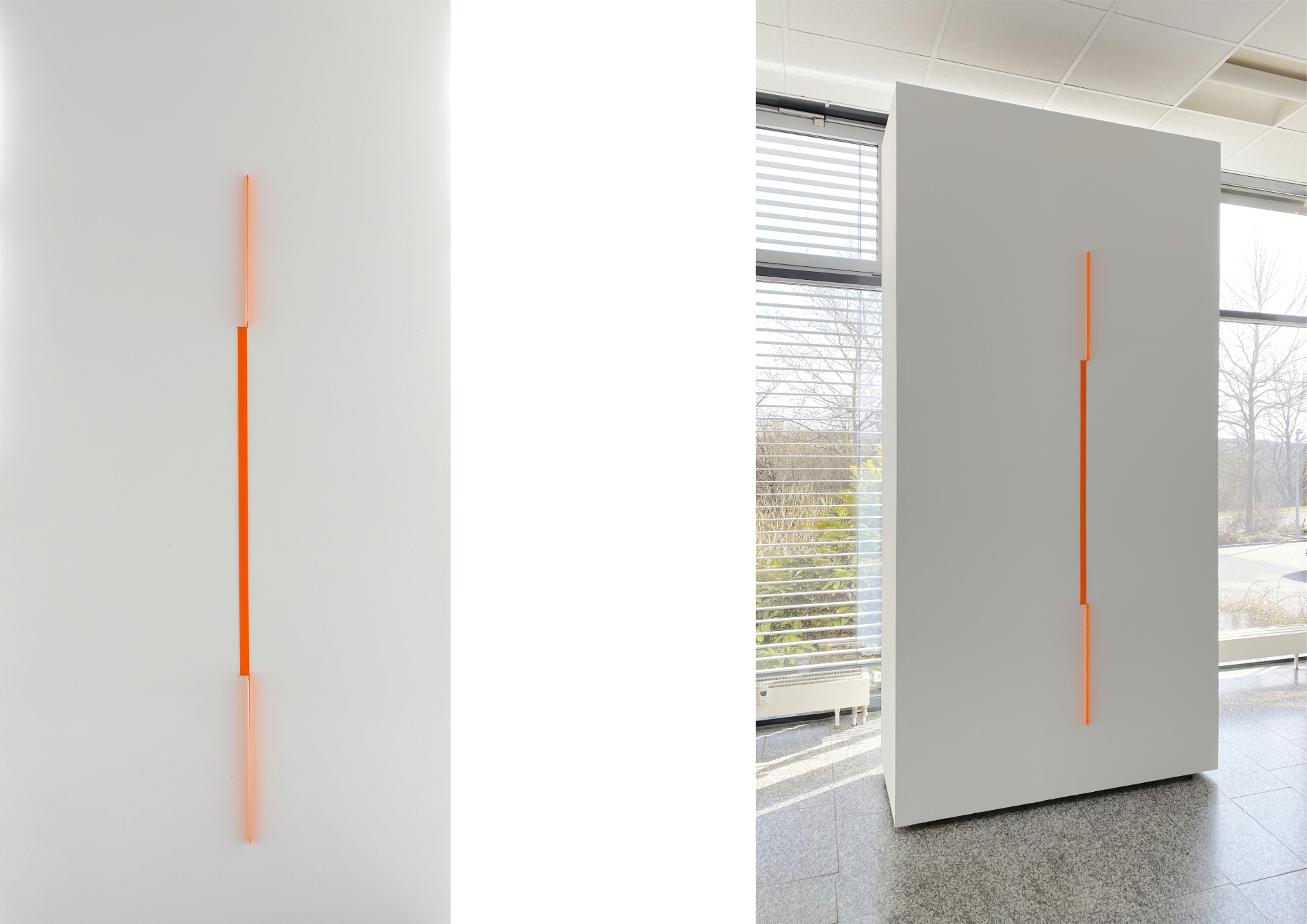 change_2021_tissue neonorange, steel pins, edition 3 + 2e.a._196 x 3 x 3 cm