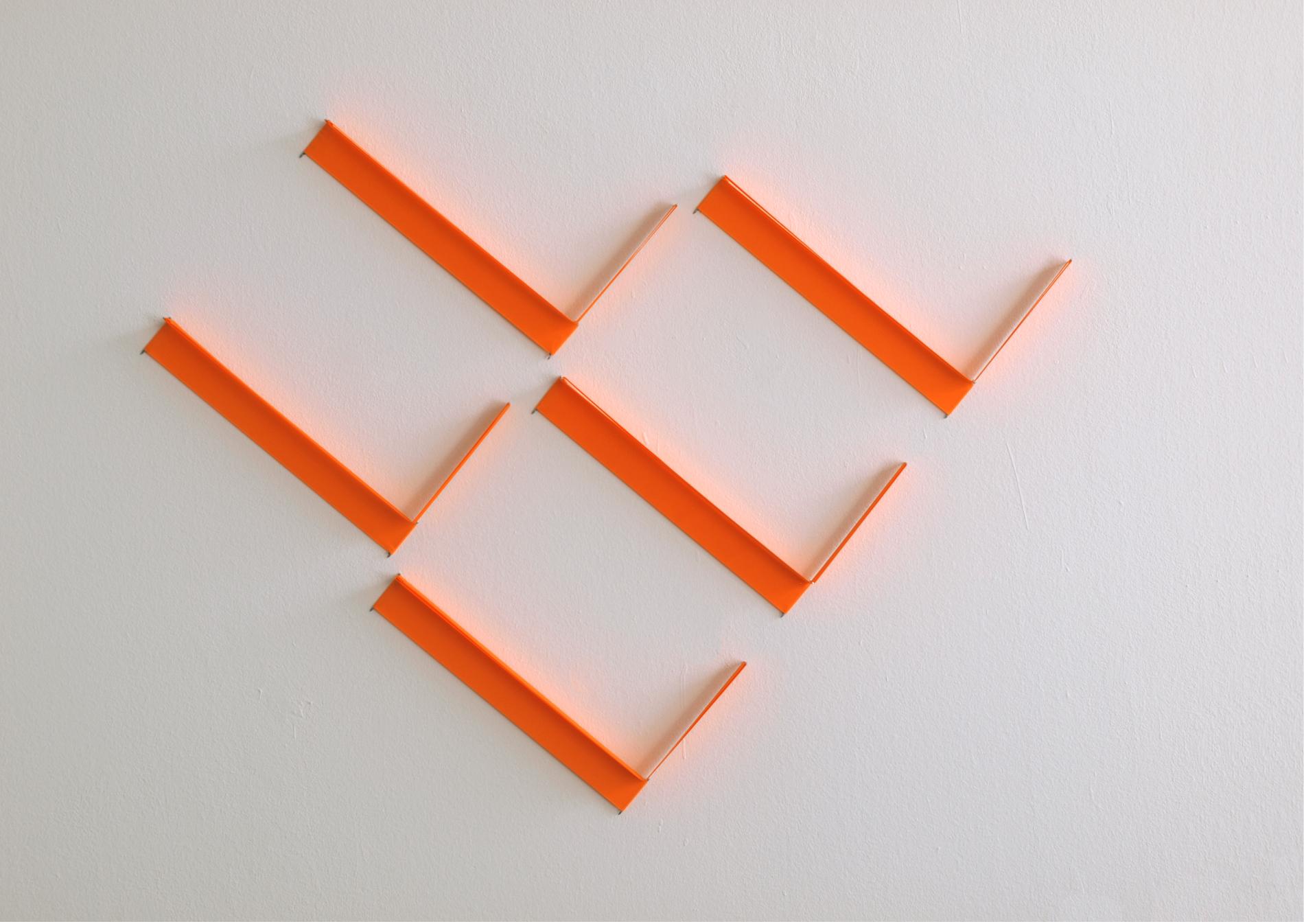 elements #3_2021_tissue neonorange, steel pins_80 x 99 x 3 cm